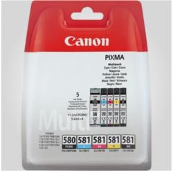 Sampak 5 stk. Canon PGI-580/CLI-581 PGBK/C/M/Y/BK, Originale patroner
